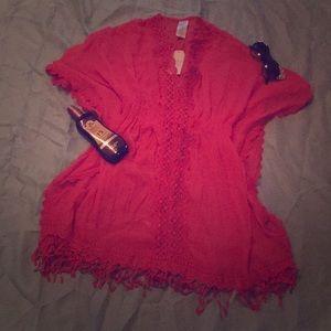 Crochet Trim Kimono Cover-Up